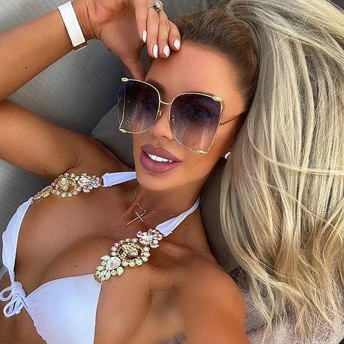 2020 New Brand Pearls Half Round Sunglasses Women