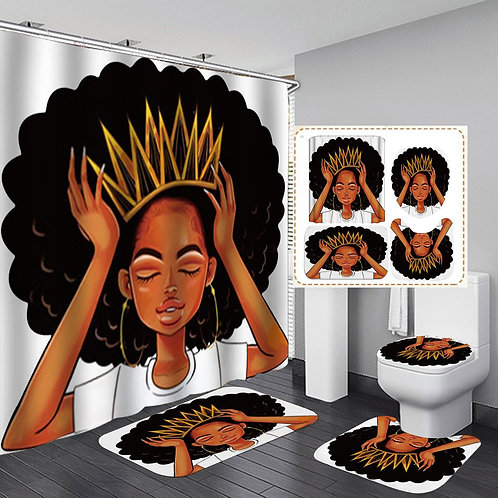 African American Women with Crown Shower Curtain Afro Africa Girl
