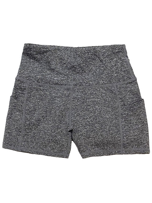 Calcao High Waist Yoga Shorts With Pocket - Heather Grey