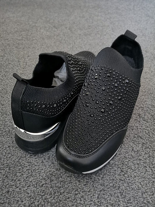 Black Diamante Knitted Leather Runner Trainer with White & Silver