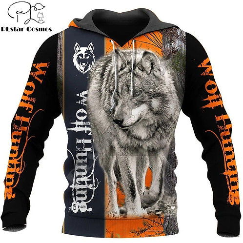 Animal Wolf Hunter Pattern 3D Printed Men Hoodies
