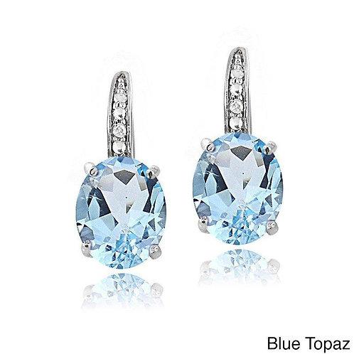 2.55 CTTW Blue Topaz Pav'e Hookback Earrings in 18K White Gold