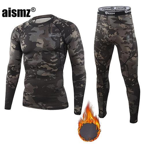 Aismz Winter Thermal Underwear Men Warm Fitness Fleece