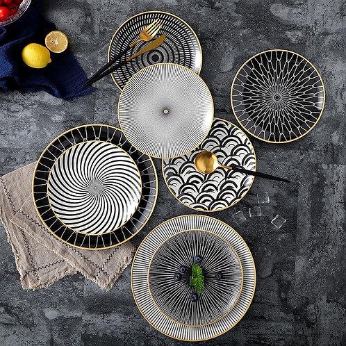 Ceramic Dinner Plate Dish Porcelain Dessert Plate Dinnerware Cake Plate