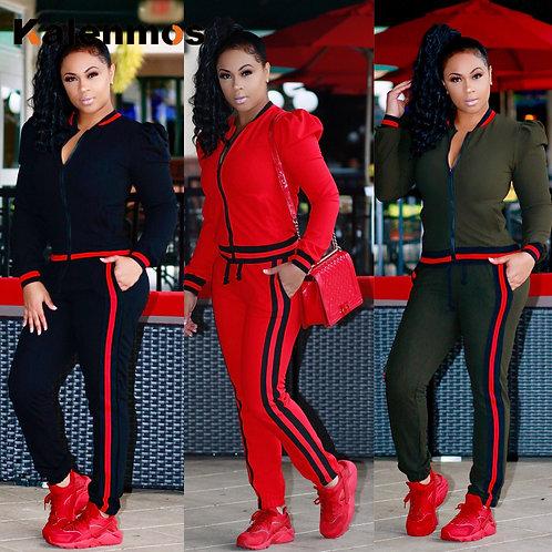 2 Piece Set Long Pant Fall Sweatshirt Trousers Sports Outfits Joggin