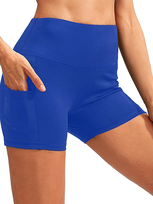 Calcao High Waist Yoga Shorts With Pocket - Blue