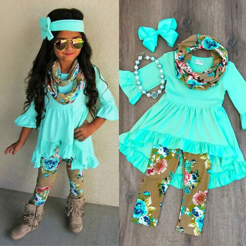 Boutique Toddler  Girl Solid Color Top Dress Floral Printed Pants