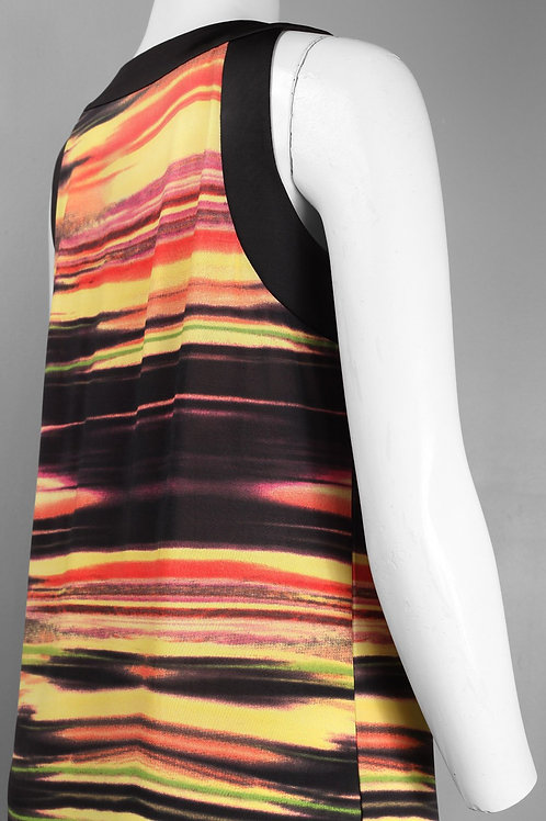 Cutaway Shoulder Abstract Print Jersey Shift Dress. By Linea Domani.