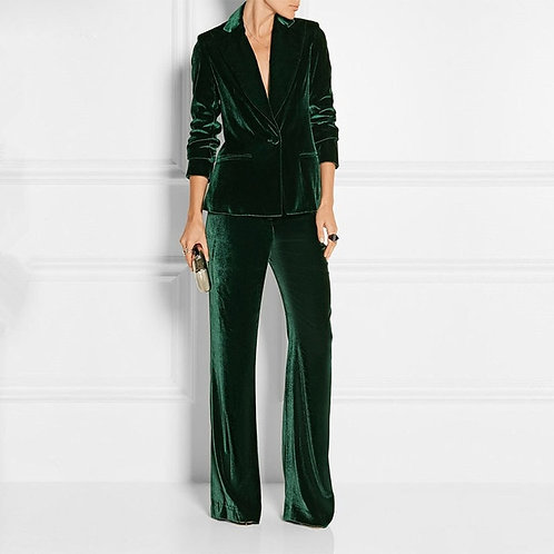 Dark Green Velvet Office Ladies Fashion Stylish Suits Jacket Pants Set