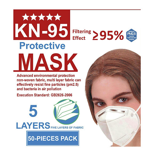 5 Layer KN-95 Protective Face Mask 50 PCS