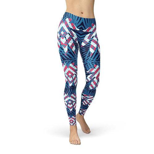 Blue Tropical Leaf Leggings for Women