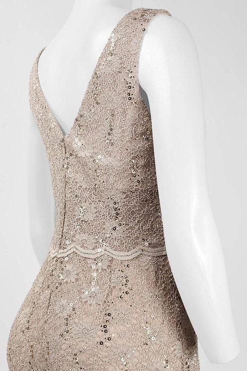 Cachet Boat Neck Sleeveless V-Back Zipper Back Floral Lace Dress