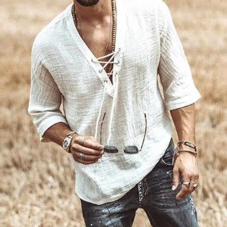 2020 New Men's Fashion Tee Shirt Solid Tops Pullover v Neck Lace-
