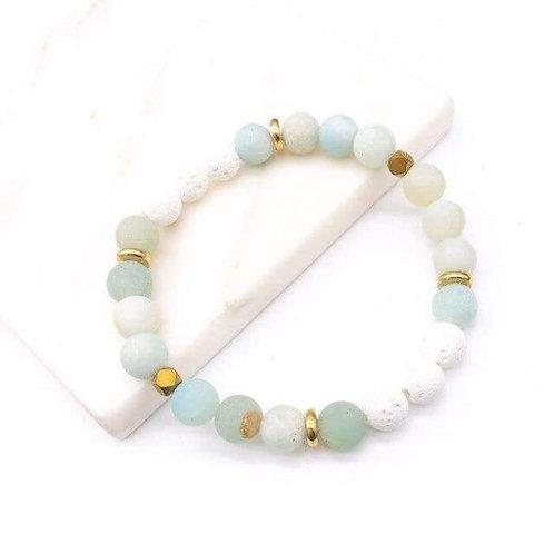 Amazonite Stone White Lava Stone Bracelet