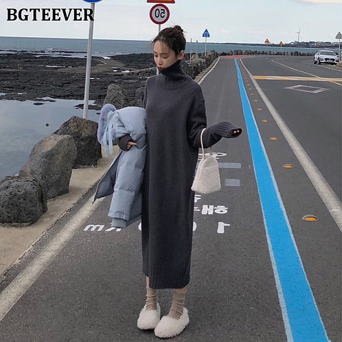 BGTEEVER Vintage Loose Turtleneck Long Sweater Dress Women
