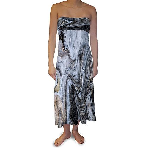 Black Grey Liquid Maxi Skirt