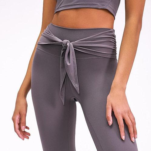 Autumn Tie Knot Solid  Yoga Pants Fashion Gym Fitness High Waist