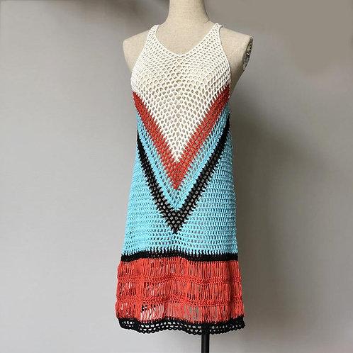 Bohemian Multi Color-Blocked Short Dress Casual Summer Sexy Vneck
