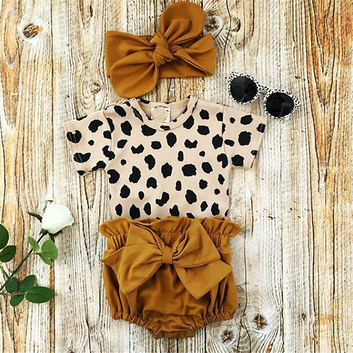 2021 Fashion Newborn Toddler Baby Girls Leopard Print Short Sleeve Romper