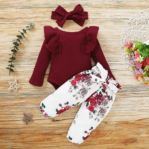 3Pcs Baby Girl Outfit Set Newborn