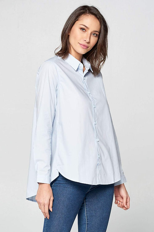 Blue Long Sleeve Button Down Top