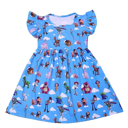 Baby Girls Pearl Dress  Lovely Cartoon Animals Printed Clothes