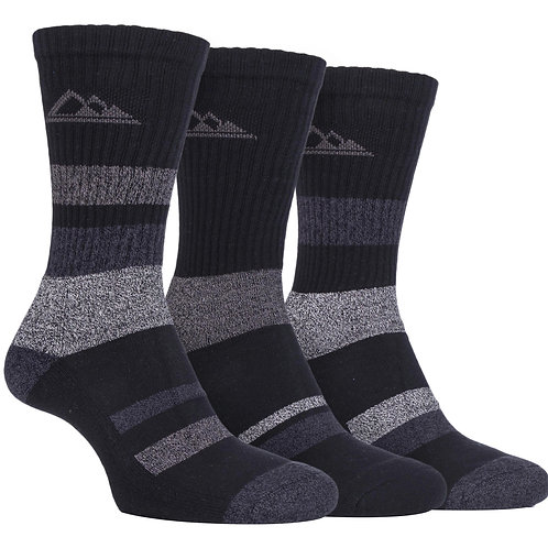 3 Pairs Ladies Padded Sole Cotton Hiking Socks