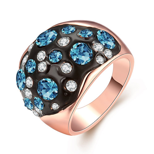 18K Rose Plated Symbolic Blue Ocean Ring made with Swarovski Crystals