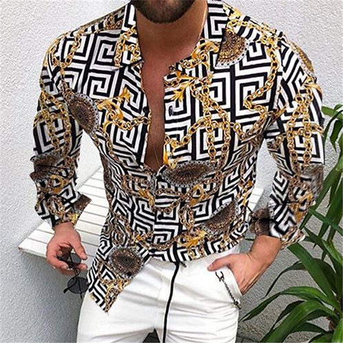 Collar Long Sleeve Shirts  Striped Shirt Mens