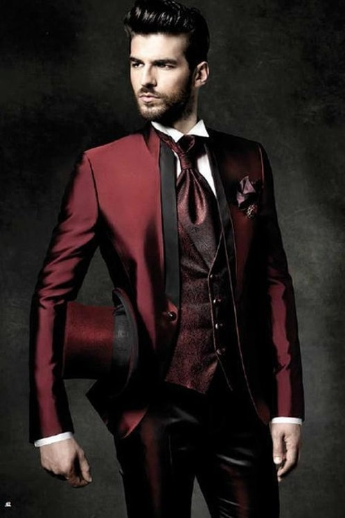 2021 High Quality One Button Dark Red Groom Tuxedo