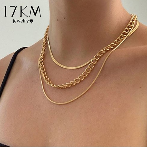 17KM Fashion Multi-Layered Snake Chain Necklace for Women