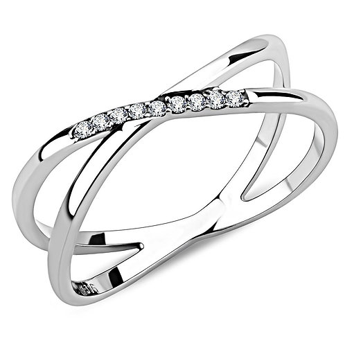 DA158 - High polished (no plating) Stainless Steel Ring with AAA Grade