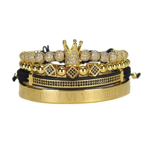 4pcs/Set Luxury Copper beads King Crown Men Bracelet Stainless steel