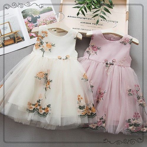 Cute Baby Girls Mesh Party Dress Flowers Tulle