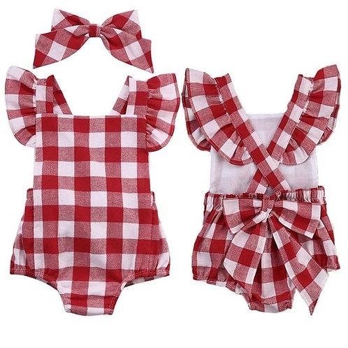 Bodysuits Plaid Newborn Baby Girl Cotton Bowknot