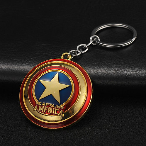 Captain America Shield Metal Key Chain Gold