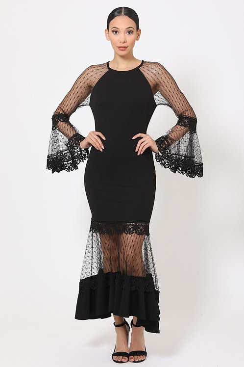 Bell Sleeve Mesh Combined Fashion Long Dress