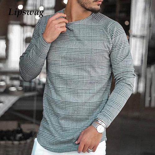 Casual Long Sleeve Plaid Print T Shirt