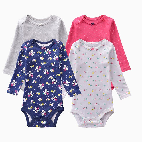 4 Pieces/Lot Bodysuits Baby Girl Clothes Cotton Long Sleeves Printed