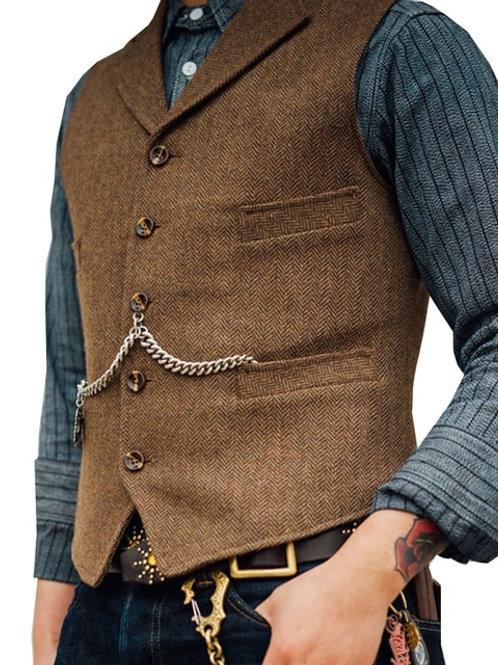 Casual Brown Waistcoat Casual Formal Groomsman Jacket for Wedding