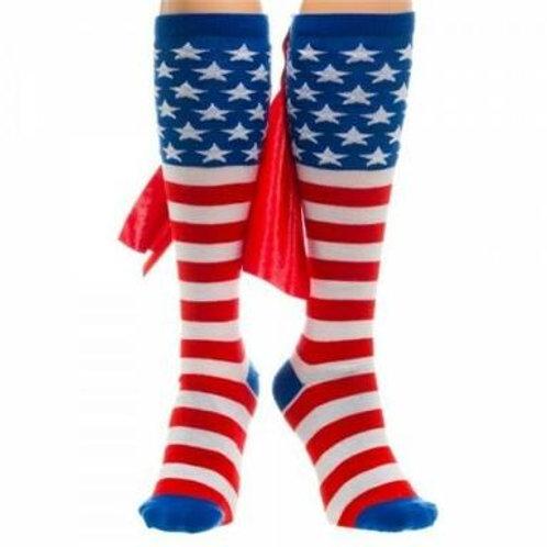 American Flag Cape Knee High Socks - Unisex