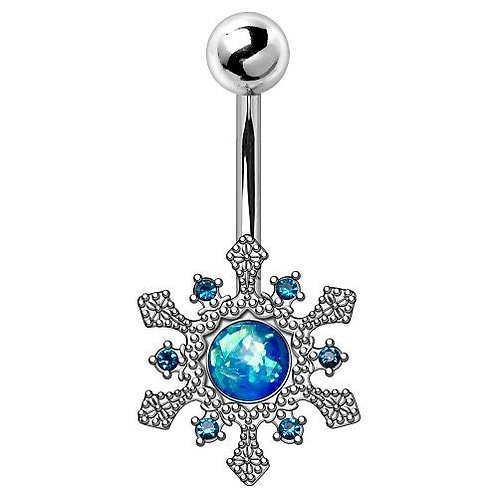 316L Stainless Steel Blue Snowflake Navel Ring