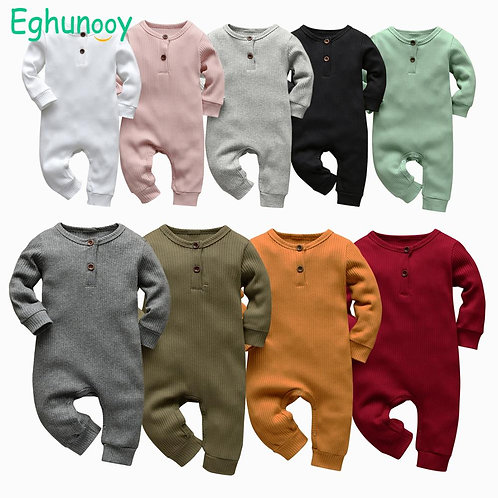 9 Color Newborn Infant Baby Boys Girls  Cotton Knitted Long Sleeve Jumpsuit