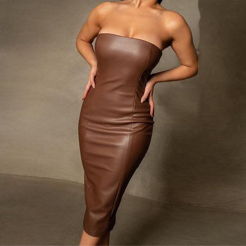 2021 New Arrival Brown Solid Color Sleeveless Strapless Outfit women