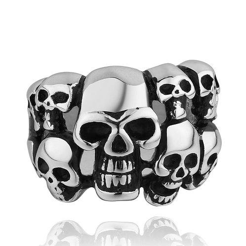 316L Stainless Steel Men Cluster Of Skulls Ring