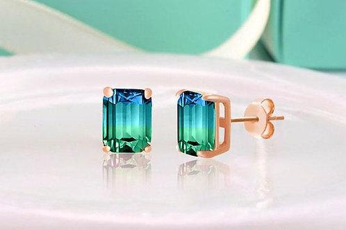 5.00 Ctw Emerald Cut Sapphire/Aquamarine Stud