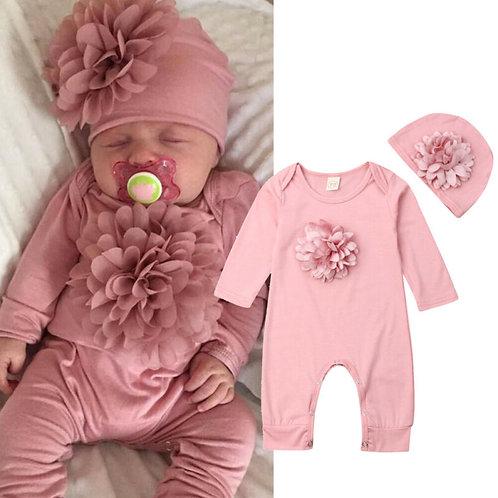 0-18m 2PCS Newborn Baby Girl Clothes 3D Flower Romper Jumpsuit Hat Outfit Set