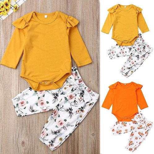 2pcs Infant Baby Girls Ruffles Long Sleeve Solid