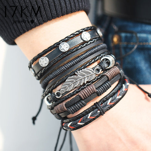 17KM Vintage Multilayer Leather Bracelet for Men