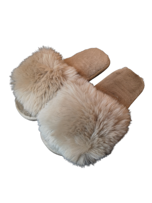 Camel Faux Fur Fluffy Slippers